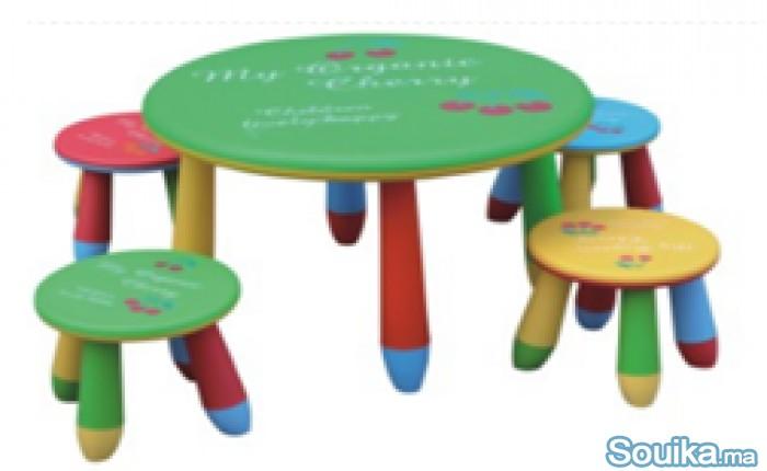 Chaises en plastique et Tables avec tabourets