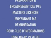 Préparation des PFE Masters Licences etc..